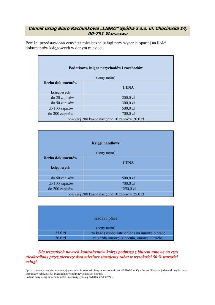 cennik usług księgowych BR LIBRO-1